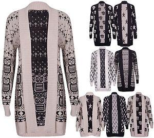 Womens-Cross-Star-Skull-Owl-Printed-Ladies-Long-Sleeve-Open-Knitted-Cardigan-Top