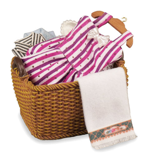 Reutter porcelana cesto//clothes Basket with clothes muñecas Tube 1:12