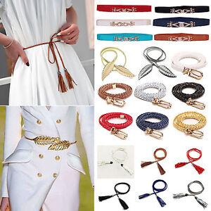 f925ffc05533eb Das Bild wird geladen Damen-Taillenguertel-Stretchguertel-Schmal-Schnalle- Elastisch-Guertel-Kleid-