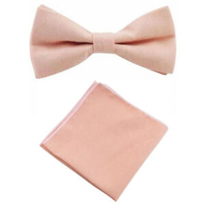 Childrens Kids Boys Vintage Blush Pink//Peach Elasticated Cotton Bow Tie