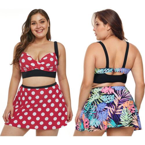 Plus size polka dot bikini top high waist skirt swimming pool women swimwear