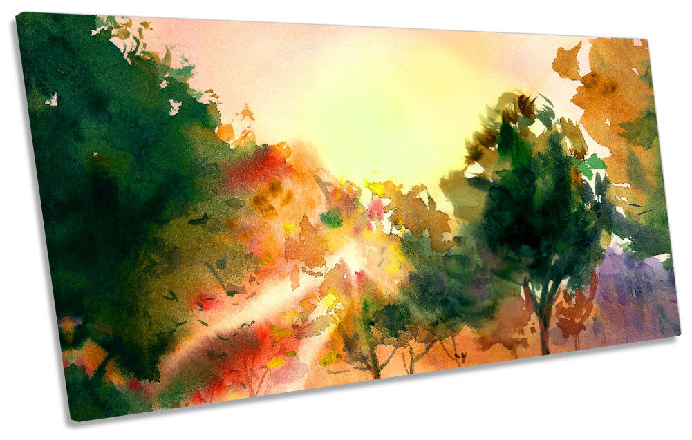 Sunset Landscape Forest Repro Framed PANORAMIC CANVAS PRINT Wall Art