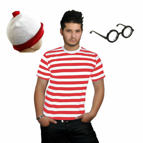 NEW MEN/'S STRIPS CREW ROUND NECK T-SHIRT TOP WHERES WALLY BOOK WEEK DAY S TO XXL