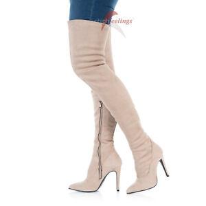 San Francisco Qualität und Quantität zugesichert Sonderverkäufe Details zu Overknee Stiefel Beige Nude High Heels 10 - 12 cm Absatz  Alcantara EU 36 - 47