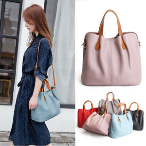 2-Pcs-Set-Convertible-Real-Leather-Single-Shoulder-Bag-Crossbody-Purse-Tote-Bag