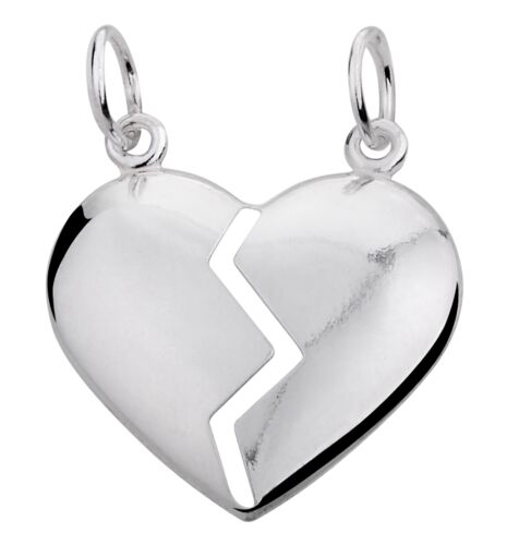 Split//Broken HEART Him//Her-Solid 925 Sterling silver pendant//necklace-Chain opt
