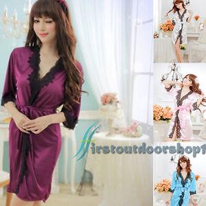 bbfe64f950 Women Night Bath Robe Dress Ladies Lingerie Sexy Sleepwear Silk ...