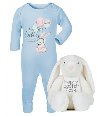 Personalised My First Easter 2019 Baby Grow and Bunny Set Baby Gifts