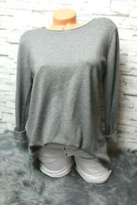 Italy-Strick-Pulli-Shirt-Pullover-Gr-36-38-40-42-grau-edel-blogger-weich-Ruecken