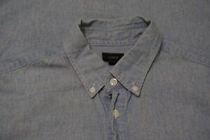 J-Crew-Light-Blue-Chambray-Cotton-1-4-Button-Long-Sleeve-Button-Up-Shirt-Sz-M