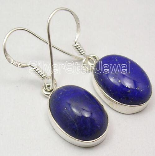 "Genuine LAPIS LAZULI 925 Solid Silver Jewellery NAVY BLUE Dangle Earrings 1.2/"""