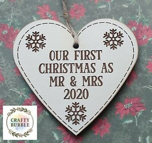 FIRST CHRISTMAS AS MR AND MRS/ MR AND MR/ MRS AND MRS HEART BAUBLE WOODEN