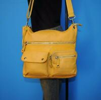 """FOSSIL """"SUTTER"""" Med Yellow Leather Crossbody Organizer Tote Shoulder Purse Bag"""