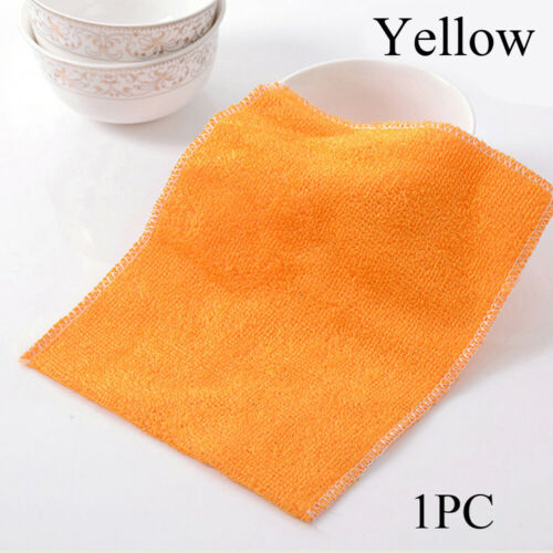 Bamboo Fiber Anti-grease Dish Cloth Scouring Pad Cleaning Rags Washing Towel