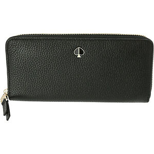 NTW KATE SPADE POLLY  ZIP AROUND SLIM LARGE CONTINENTAL WALLET IN BLACK LEATHER