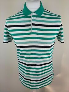 Mens-Hugo-Boss-Golf-Polo-Shirt-Green-Stripe-Medium-40-Chest-black-label-reg-fit