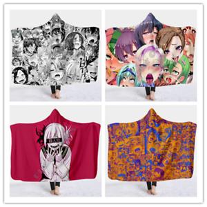 Funny Anime Ahegao 3D Hooded Blanket Fleece Wearable Blanket Throw Blanket 2021