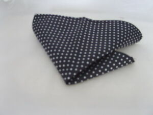 "(020) 100% SILK Black with Silver Polka Dots-Pocket Hankie-9"" x 9"" = 23cm x 23cm"