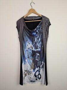 Gabriella Frattini Cowl Neck Shift Dress Women's Size 12 Water Splash Graphics