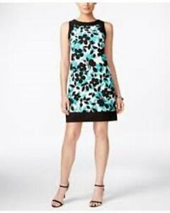 Jessica-Howard-Dress-Sz-12-Black-Teal-Floral-Sleeveless-Career-Cocktail-Sheath