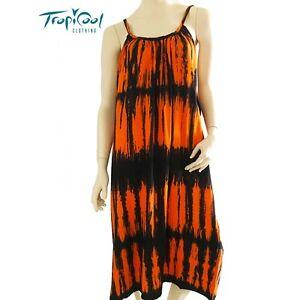 d9b8dda6a7a2 Tie Dye Dress Orange Black Ladies Dress Plus Size Summer Cruise Wear ...
