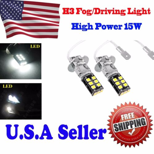 2X High Power H3 6000K Xenon White 15W LED 800LM Fog Driving DRL Light Bulb Lamp