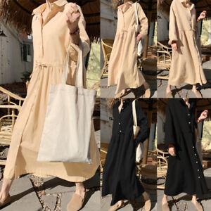Elegant-Femme-Robe-Casual-Loose-Chemise-Manche-Longue-Revers-Plisse-Dresse-Plus