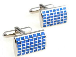 Silver-amp-Blue-Enamel-Check-Mens-Rectangle-Gift-Cuff-links-by-CUFFLINKS-DIRECT