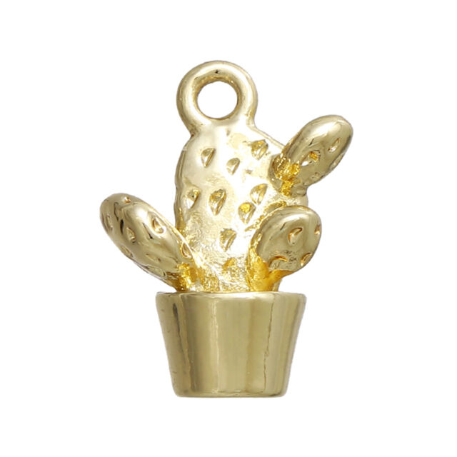 LP 5 Vergoldet Charms Anhänger für Halskette Schmuck Kakteengewächse 15x11mm