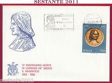 ITALIA FDC LORENZO MEDICI IL MAGNIFICO CENTENARIO MORTE 1992 INVITO FIRENZE S239