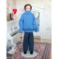 1/12th Dolls House Miniature Porcelain People Dolls Male In Blue Sweater