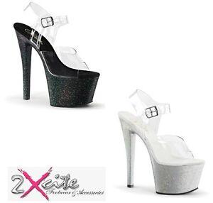PLEASER SKY308MG piattaforma sandalo cinturino alla caviglia con Mini Brillantini Trasparente/Nero