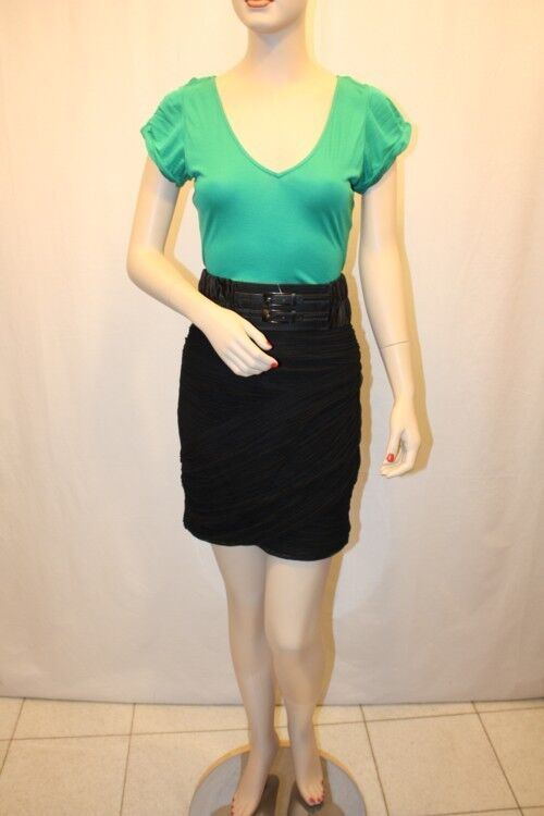 NEW BCBG POLY MESH RUCHED CONTRAST W BELT AAO6F884 DC400 DRESS SIZE 12