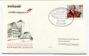 Industrieux Ffc 1987 Swissair First Flight Nurnberg Zurich Flughagen Deutsche Bundespost Retarder La SéNilité