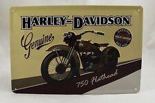 Superb Embossed Harley Davidson '750 Flathead' Tin Plate Wall Sign 20cm x 30cm