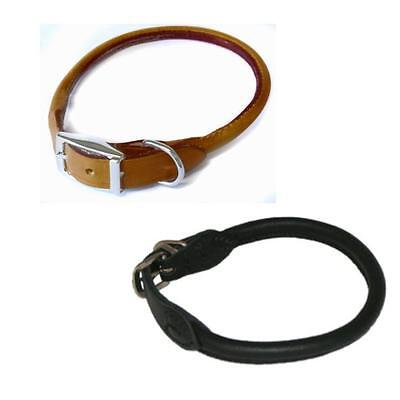 Koko Luxury Stylish Durable Leather Rolled Dog Puppy Collar Black Brown 8 Sizes
