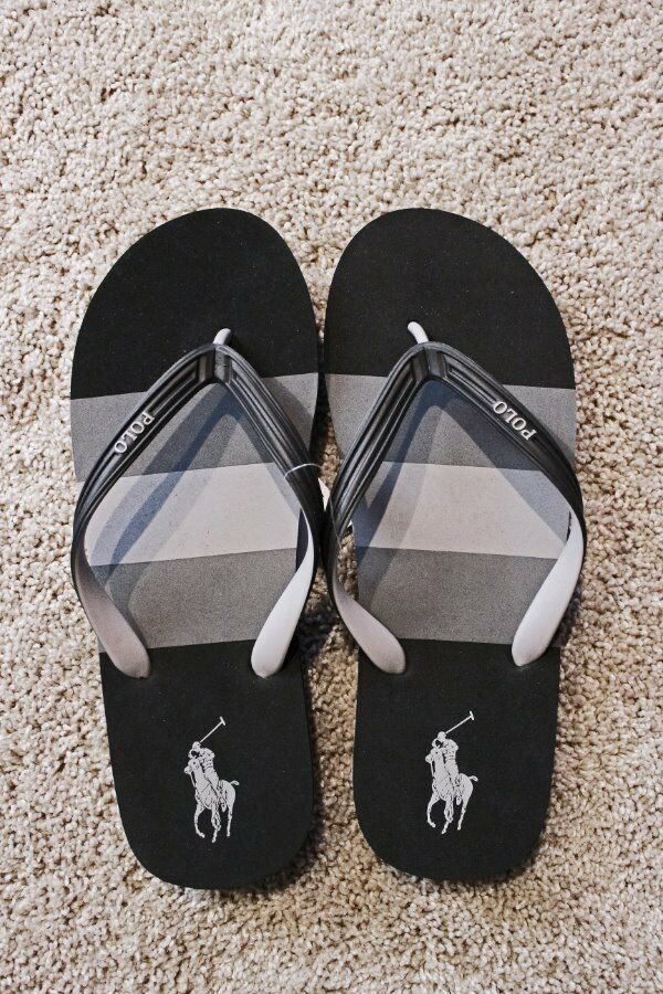 Men's Ralph Lauren POLO And Whitlebury Flip Flop~ Gray And POLO Black~ NWT~ 174ecf