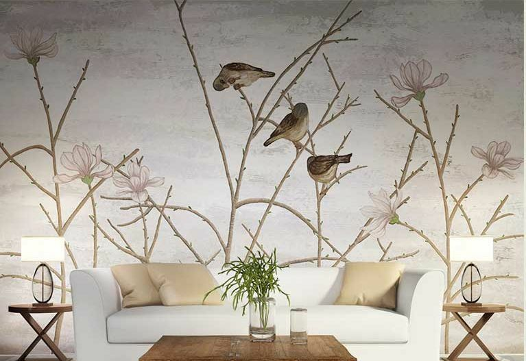 3D Shoot Birds Stop Wall Paper Wall Print Decal Wall Deco Indoor wall Murals