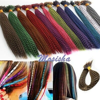 """5pc Grizzly 16"""" Colorful Feather Synthetic Straight Hair Piece Hair Extension M"""