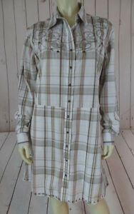 Cowgirl-Dress-L-White-Browns-Red-Plaid-Cotton-Snap-Front-Embroidery-Western-CHIC