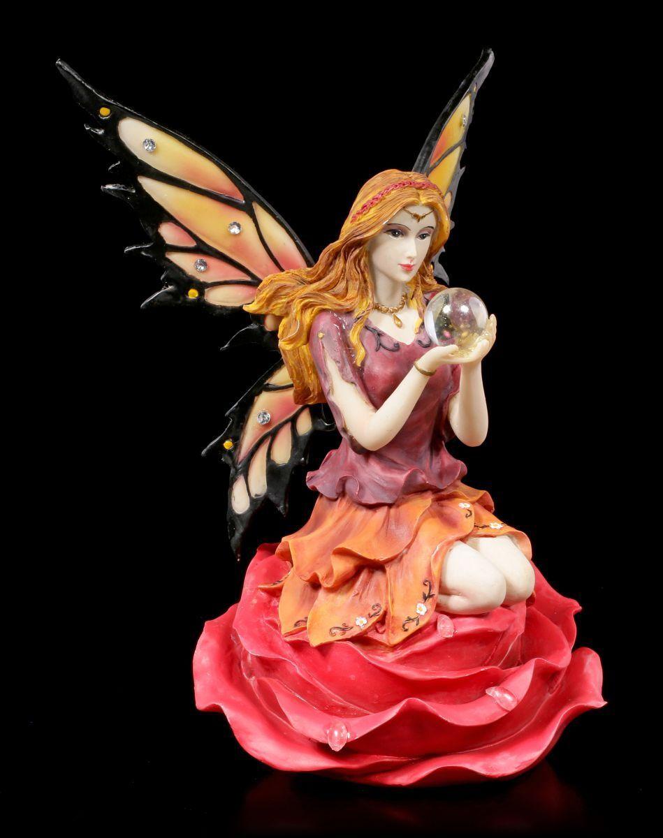 Figura Elfos - isara auf Pétalos de Rosa CON BOLA CRISTAL - FANTASÍA HADAS Magia