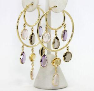 Amethyst-rose-smokey-quartz-citrine-chandelier-hoop-earrings-18K-Y-gold-18-45CT