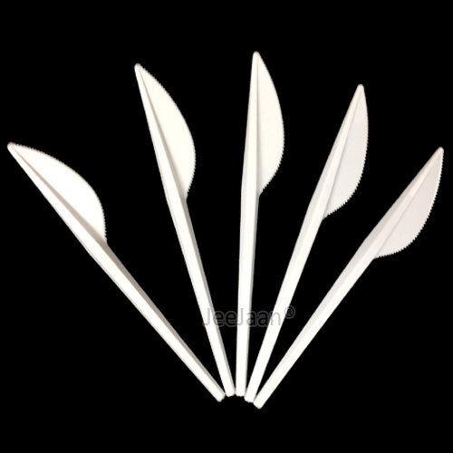 Forte plastique blanc jetable couteaux couverts Mariage Fête Anniversaire restauration