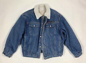 Trentatre-33-giubbotto-sherpa-giacca-jeans-L-vintage-pile-imbottito-usato-T6186