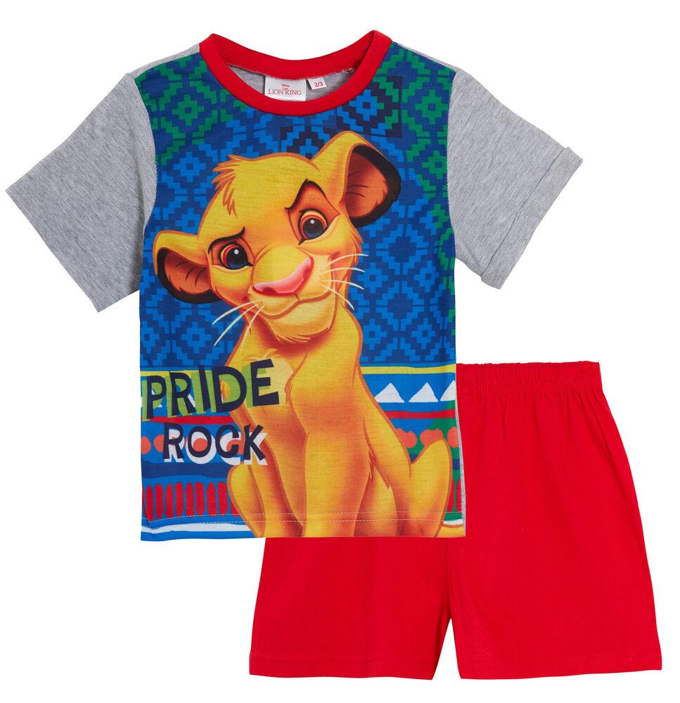 Infatigable Disney Le Roi Lion Garçons Court Pyjamas Simba Shortie Pyjama Set Kids Nightwear Riche En Splendeur PoéTique Et Picturale