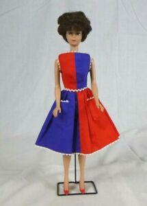Vtg 1964 Mattel Brunette Bubblecut Barbie Doll & #943 Fancy Free Dress Red Shoes