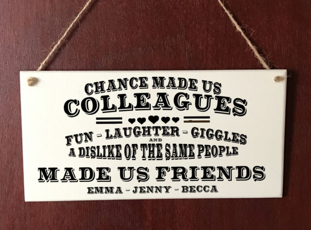 Colleagues Work Friendship Funny DELUXE Plaque Sign Chic Home Gift Birthday