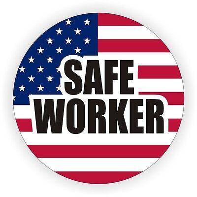 Safe Worker Patriotic American Flag Hard Hat Decal | Helmet Sticker Label USA