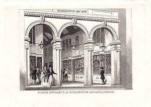 1840-Viktorianisch-Aufdruck-North-Eingang-von-Burlington-Arcade-London