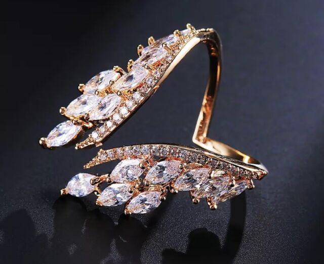 18k Rose Gold Cocktail Adjustable Ring made w/ Swarovski Crystal Stone Bridal